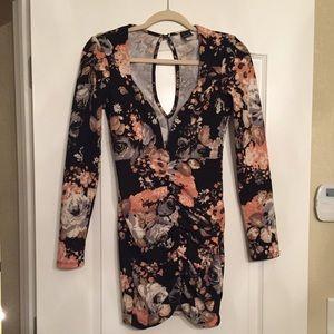 Privy Floral V Neck Ruched Dress